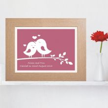 Silhouette Love Birds Print - Personalised Valentines, Anniversary or Wedding Gift